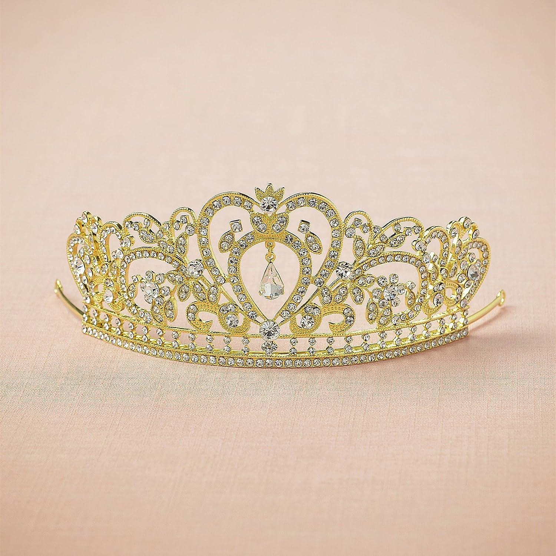 Amazon.com   AW Crystal Tiara Wedding Crown Headband - Gold Rhinestone Tiara  Women Hair Jewelry - Birthday Tiara Crowns Cake Topper   Beauty c5d1f30a3da