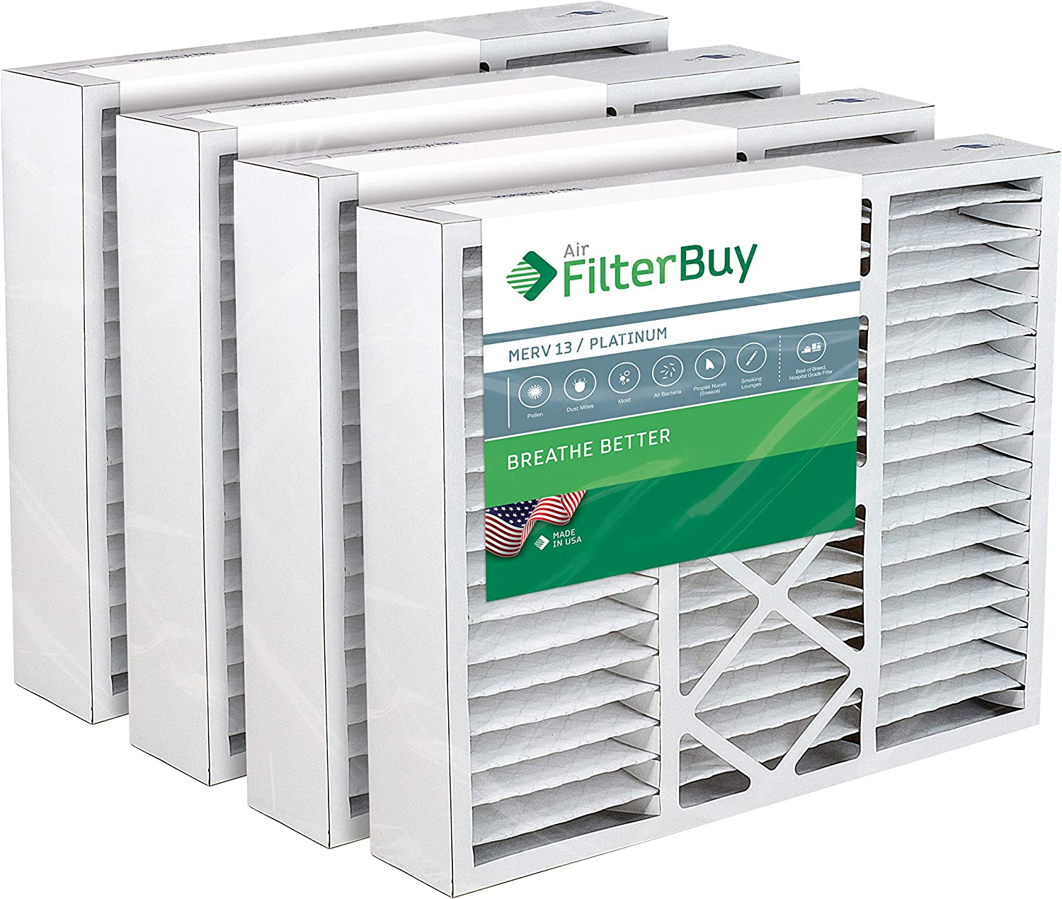 FilterBuy 20x20x5 Amana Goodman Coleman York FS2020 M2-1056 MU2020 9183960 Compatible Pleated AC Furnace Air Filters (MERV 13, AFB Platinum). 4 Pack.