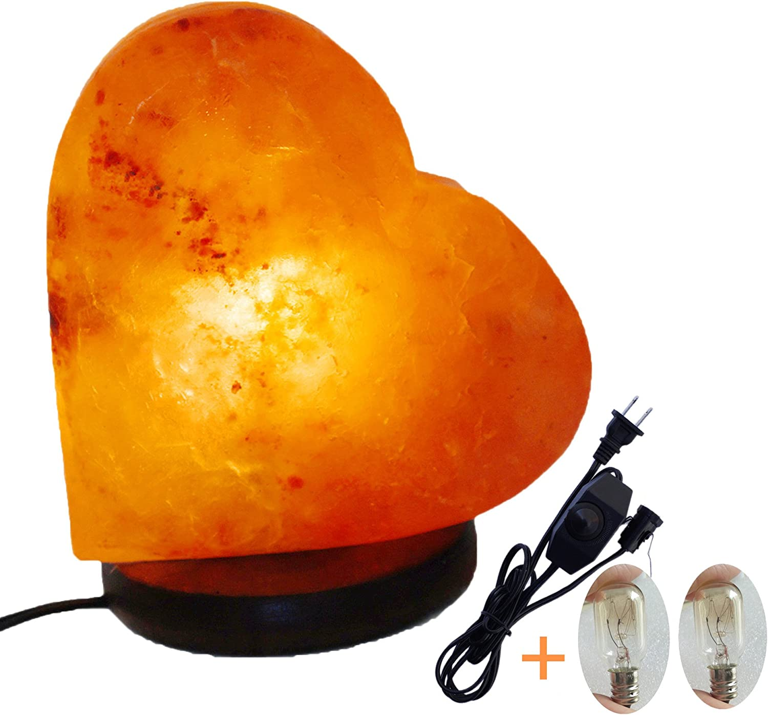 6-7 inch 3-4lbs Wooden Base Gift Box Amoystone Natural Himalayan Salt Lamps with UL Dimmer Cord /& Bulbs Small Salt Rock Lamp