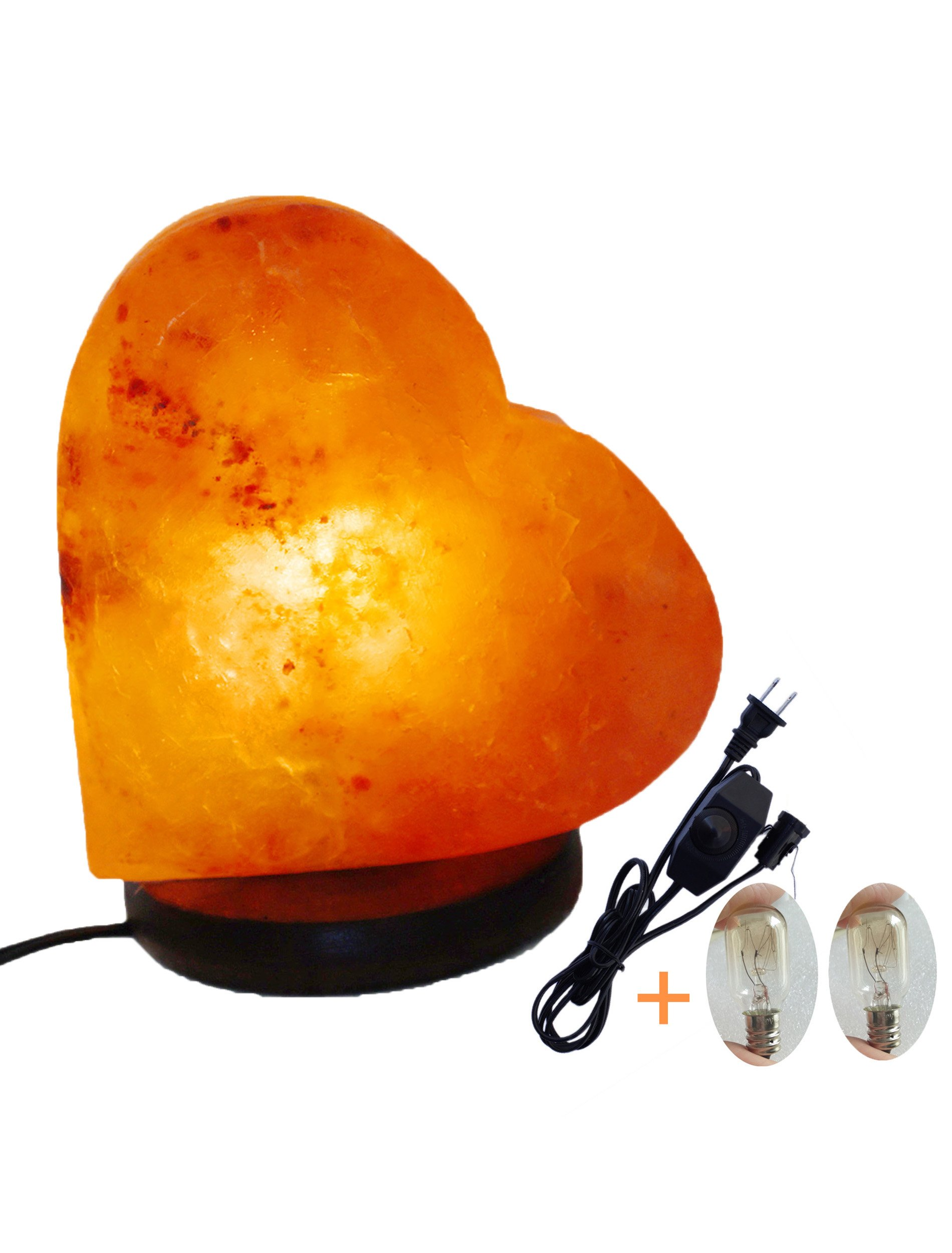 Romantic Heart Shape Salt Lamp Himalayan Hand Carved Crystal 6'' on Rosewood Base with UL Switch Dimmer Cord