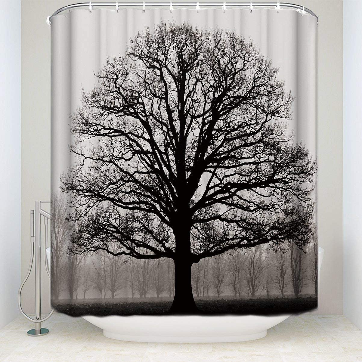 "Prime Leader Durable Shower Curtain-Tree Silhouette Waterproof Bathroom Fabric Shower Curtains,36""(w) x 72""(h) Bathroom Decor with Hooks"