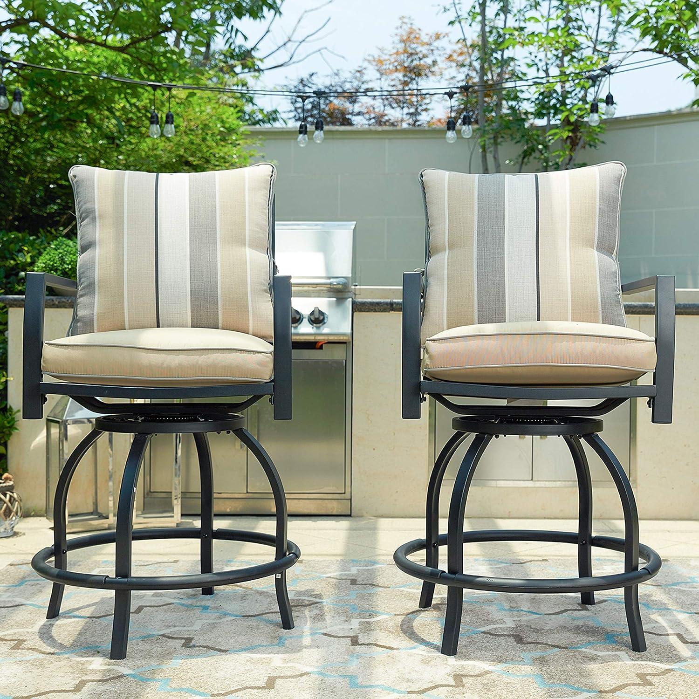 1PCS Table LOKATSE HOME High Outdoor Patio Bar Height Glass Top Table 1PCS Table