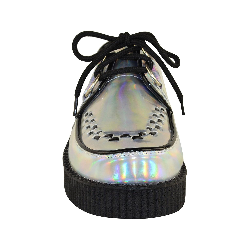 NUEVO DE MUJER Creeper Gótico Punk Plataforma Zapatos Con Cordones Plano Talla - Blanco Piel Sintética Monocromo, 37