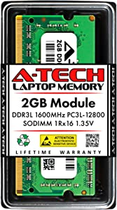 A-Tech 2GB Memory RAM for Dell Inspiron 17 5000 5749 - DDR3L 1600MHz PC3-12800 Non ECC SO-DIMM 1Rx16 1.35V - Single Laptop & Notebook Upgrade Module (Replacement for A7568815)