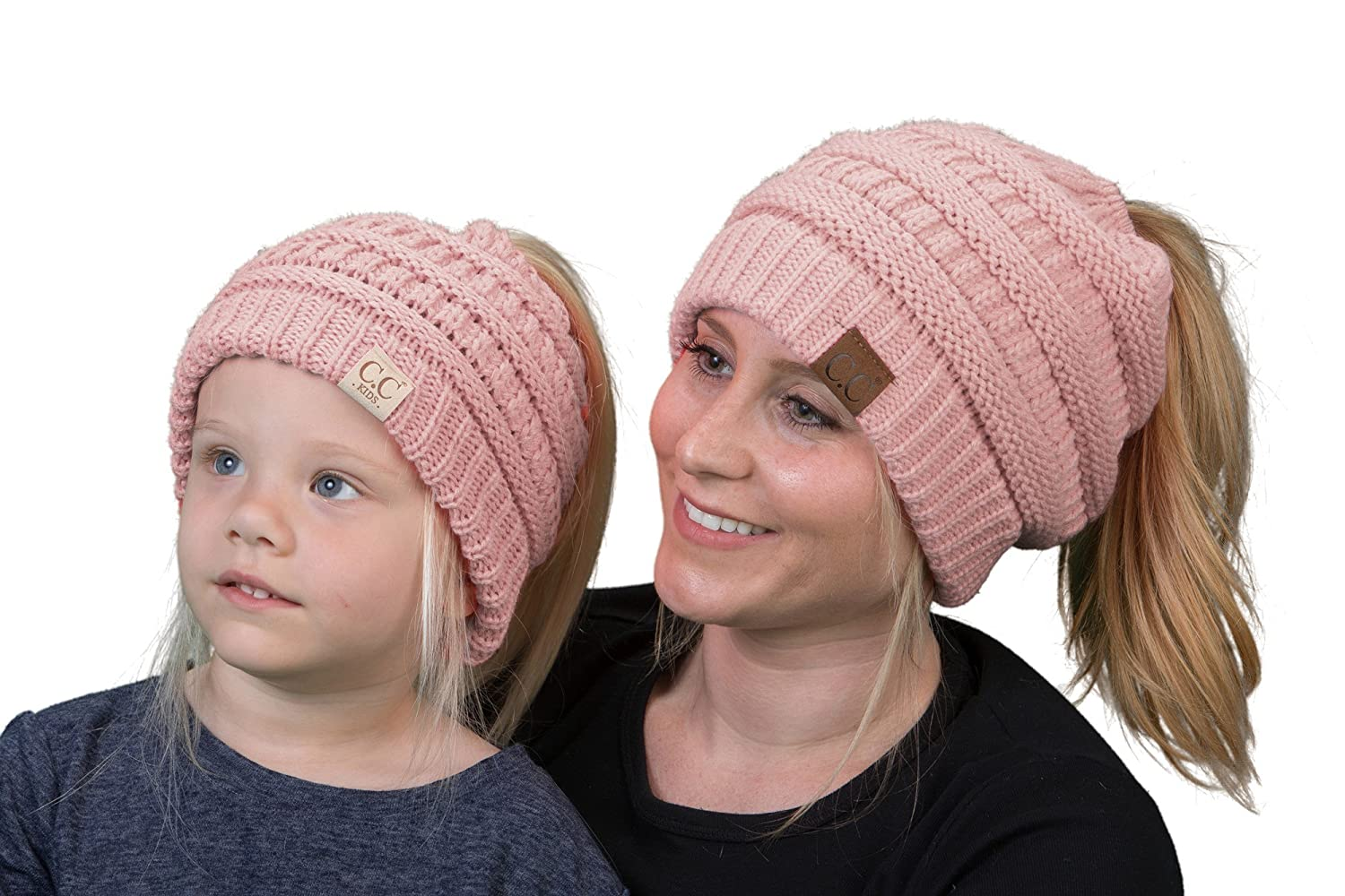 C.C Matching Womens & Girls/Boys BeanieTail Ponytail Messy Bun Beanie Bundle gWBT.KBT-6800-816.0641-FJ