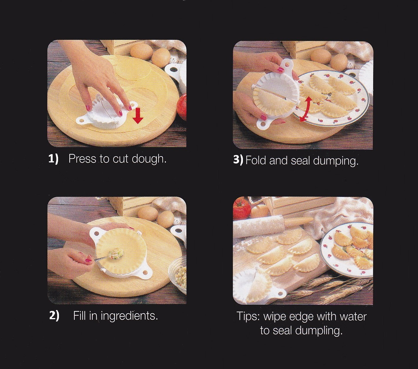 Dumpling Maker (molde) - Set de 5 tamaños - Dough Prensa, empanadas/ravioli/Samosa: Amazon.es: Hogar