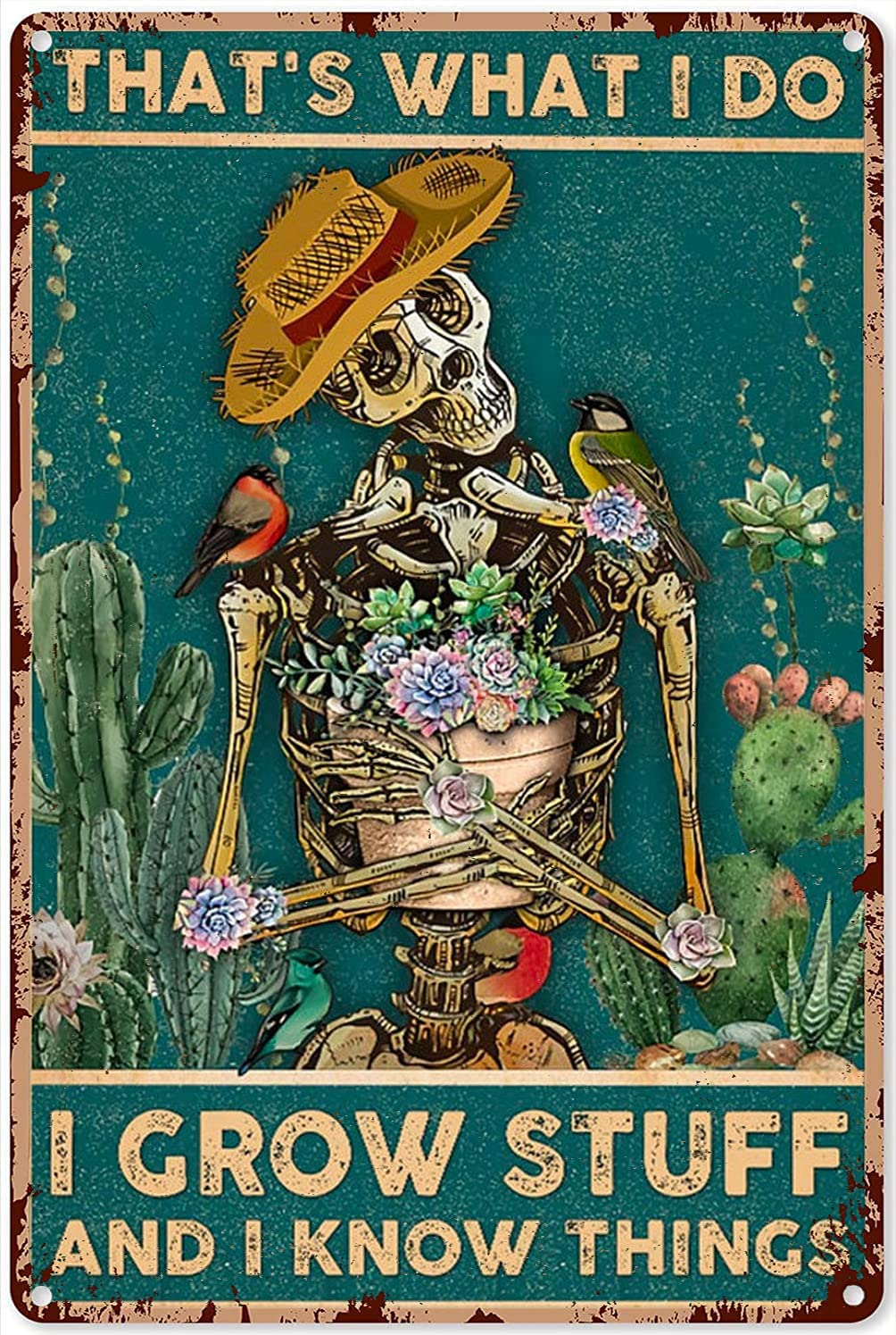 Retro Tin Sign Gardening That's What I Do I Grow Stuff and I Know Things Cactus Garden Tin Sign Decoration Vintage Chic Metal Poster Wall Decor