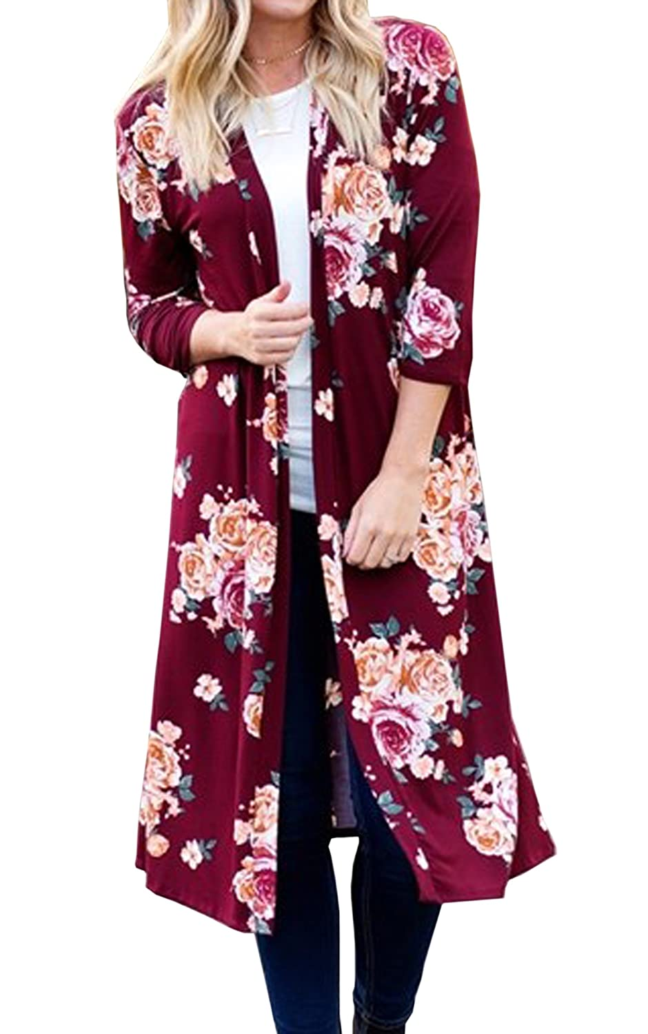 Hibluco Women's Casual 3/4 Sleeve Floral Printed Open Long Cardigan Jacket Outwear