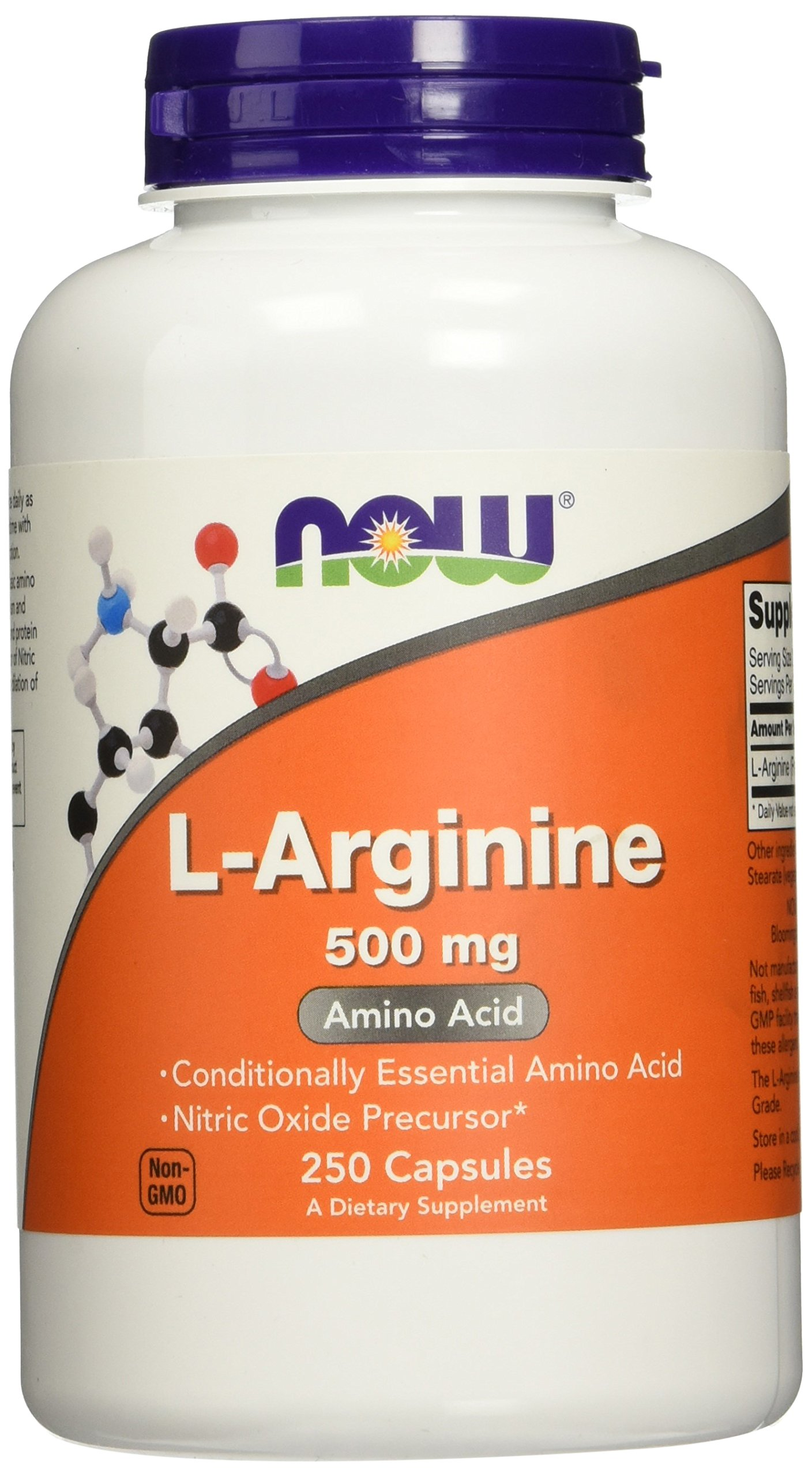 NOW L-Arginine 500 mg, 250 Capsules