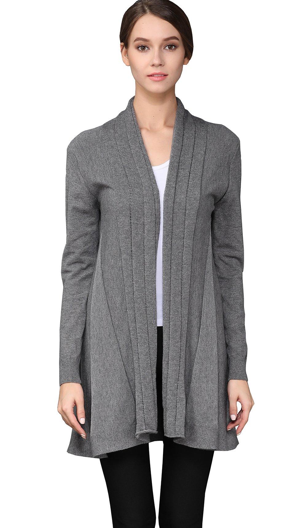 shengweiao Womens Long Sleeve Classic Knit Cardigan Sweater (Large, Dark Grey) by shengweiao (Image #2)