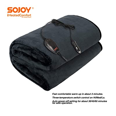 "Sojoy 12V Heated Smart Multifunctional Travel Electric Blanket for Car, Truck, Boats or RV with High/Low Temp Control (55""x 40"") (Gray): Home & Kitchen"