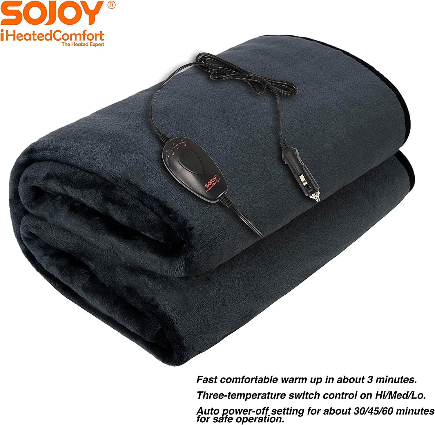Sojoy 12V Multifunctional Travel Electric Blanket
