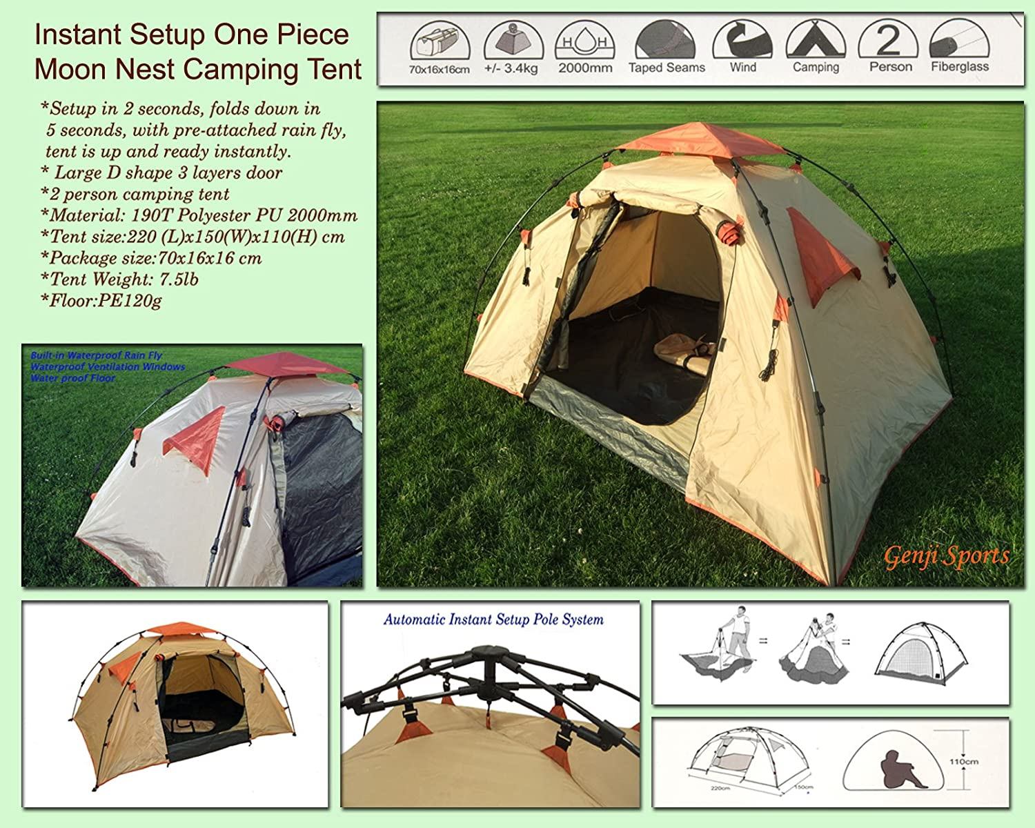 Amazon.com  Instant Setup One Piece C&ing Tent  Family Tents  Sports u0026 Outdoors : quick tents to put up - memphite.com