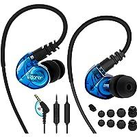 Adorer Écouteurs Sport RX6 anti-bruit intra-auriculaires avec Microphone, casque anti-transpiration pour iPhone, iPad, Samsung, LG, Huawei, Lecteurs MP3 - Bleu