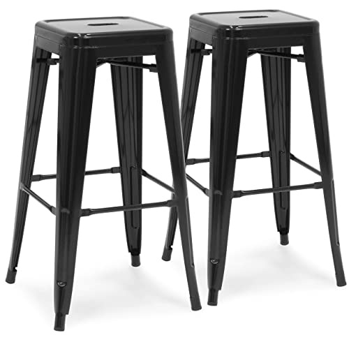 Best Choice Products 30 Set of 2 Modern Industrial Backless Metal Bar Stools- Black