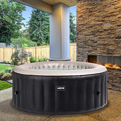 Wave Spas Atlantic Inflatable Hot Tub A Portable Inflatable Quick Heating Round Hot Tub Spa Indoor Outdoor Bubble Jacuzzi Plus Powerful Heater Compressor Up To 4 Persons Amazon Co Uk Garden Outdoors
