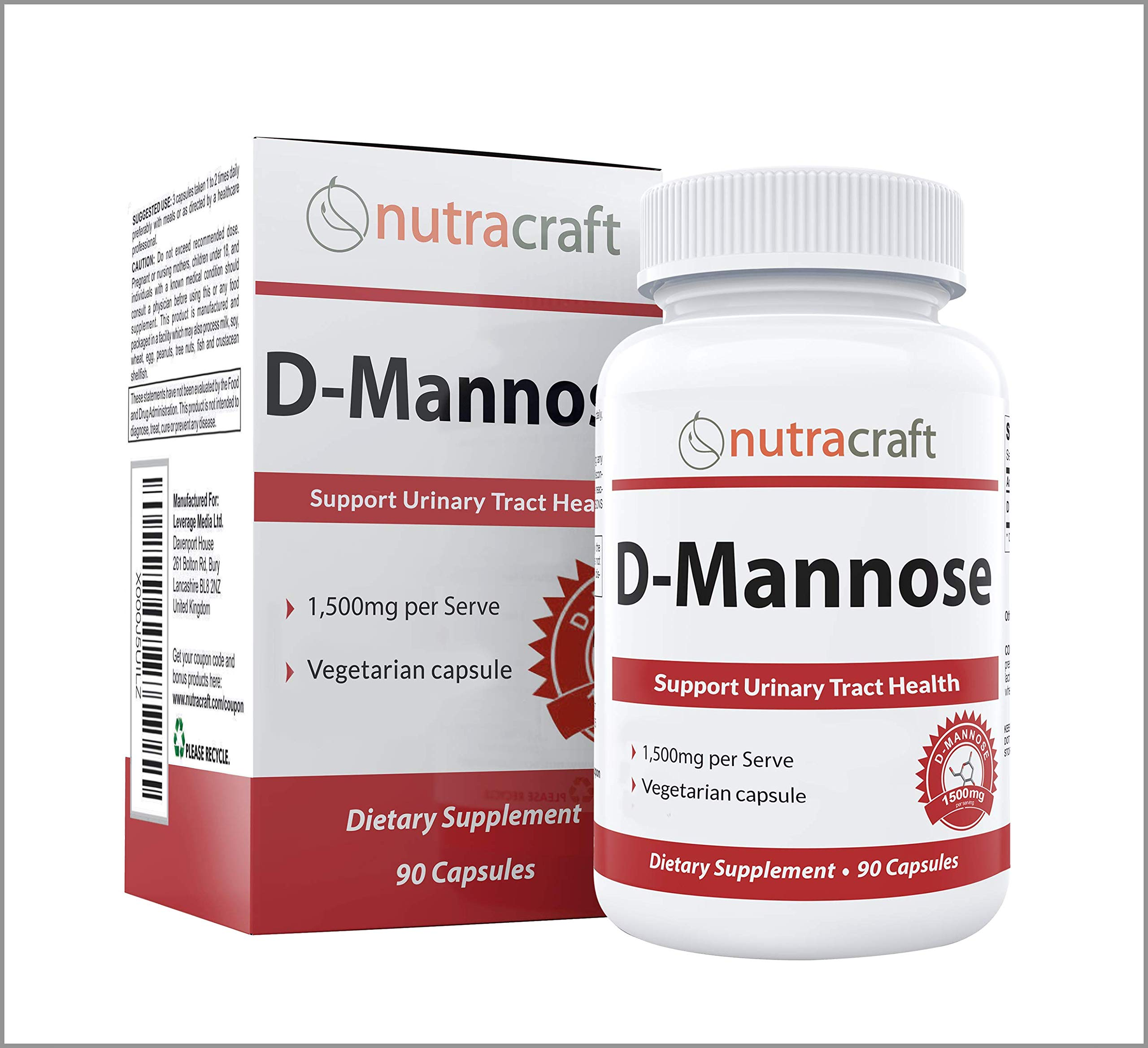 100% Pure D-Mannose Supplement - Combat Urinary Tract Infections & Support Bladder Health - 1500mg Per Serve - No Preservatives or Gluten - Made in The USA - 90 Vegetarian Capsules by Nutracraft