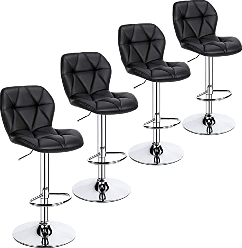 YAHEETECH 4pcs Barstools Adjustable PU Leather 360 Swivel Count Bar Chair