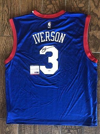 Allen Iverson Autographed Signed Blue Philadelphia 76ers Basketball Jersey  PSA DNA - Size XL 3d7a8b9e4