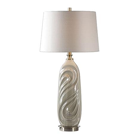 Sage Gray Ceramic Contemporary Swirl Table Lamp Modern Light Green