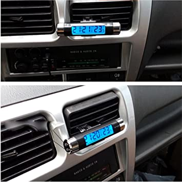 Amazon.es: USUN Reloj termómetro digital con pantalla LCD retroiluminada para coche, color azul