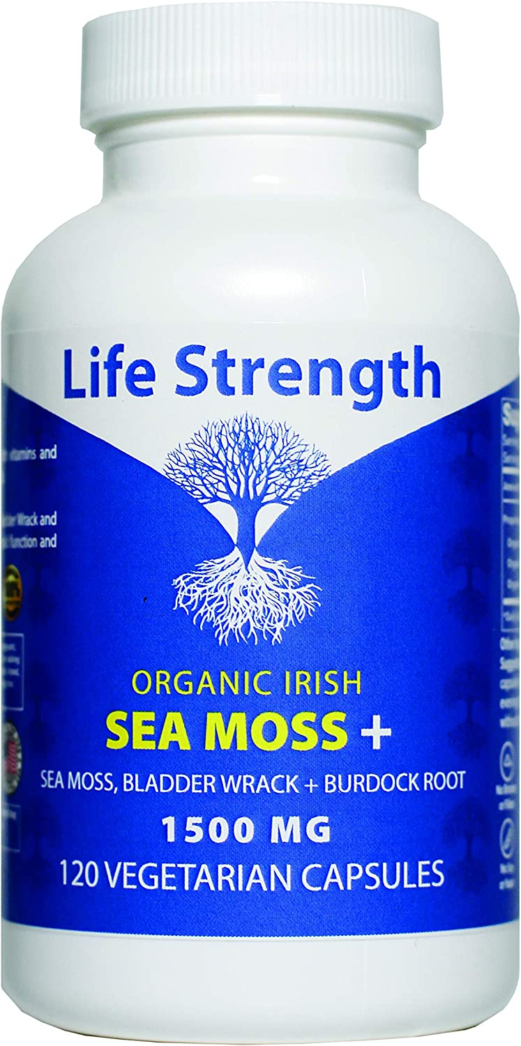 Life Strength 120 CT Wildcrafted Organic Irish Sea Moss Bladderwrack and Burdock Root Finest Ingredients Lung Support Immune Boost Super Food