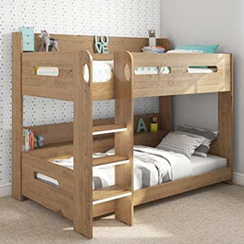 Sky Single Wooden Bunk Bed In Oak Ladder Can Be Fitted Either Side