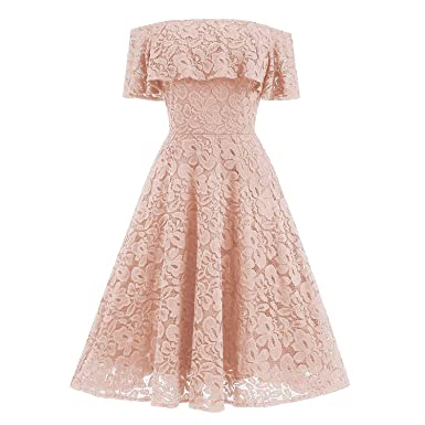 33937c07976e Hyling Women s Off Shoulder Vintage Dress Lace Elegant Party Cocktail  Ruffled Dresses (Pink