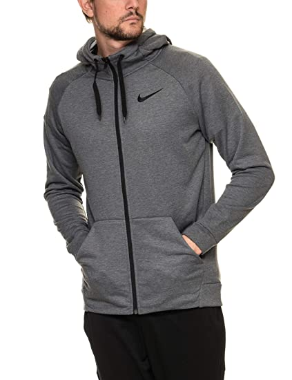 NIKE Mens Dri-Fit Fleece Hoodie Charcoal Heather Black 860465-071 Size X 34a557802d