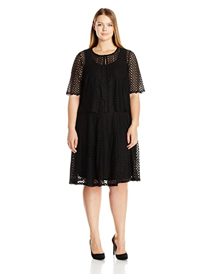 2460dc548f57c ROBBIE BEE Women s Plus Size Crochet Sleeveless Dress with Jacket at ...