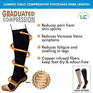 bf072aca2b Lumino Cielo Compression Stockings Knee Length For Varicose Veins with  Copper Infused Fibers (L/