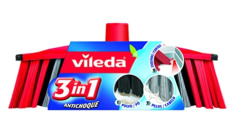 Vileda 01319088, Recambio Cepillo Antichoque 3 En 1, Pack of 2