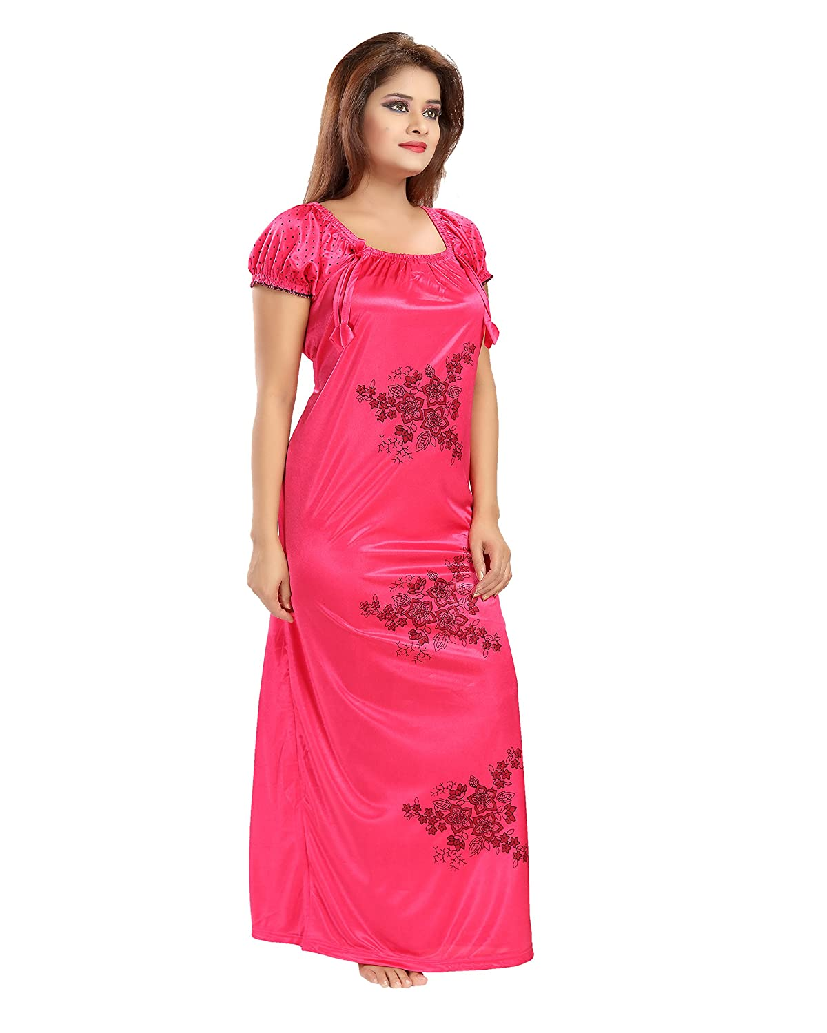Shopping World Women s Pink Satin Nighty (Free Size Solid 1 Nighty)   Amazon.in  Clothing   Accessories 782b12d60