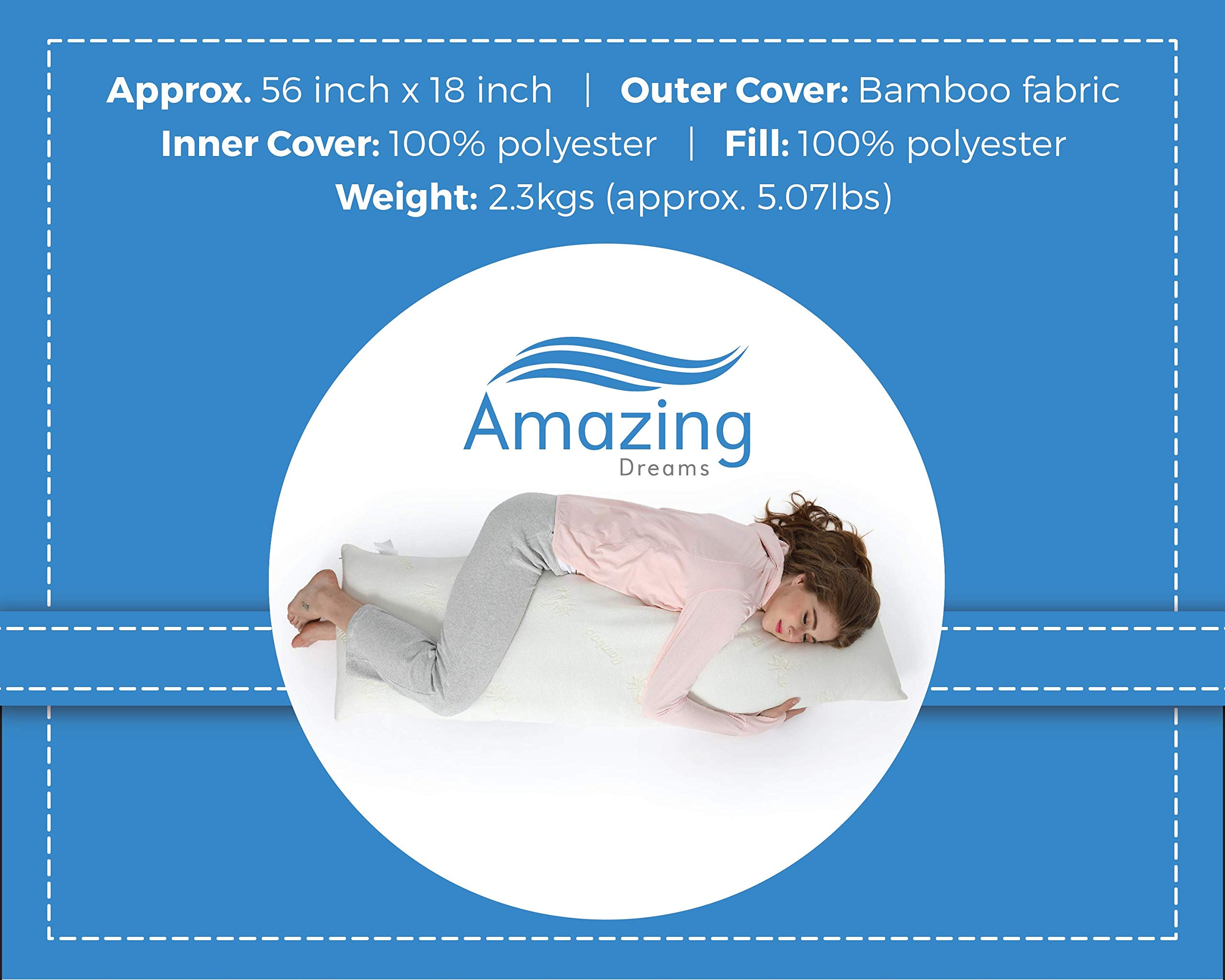 AmazingDreams Full Body Pillow - Side Sleeper Pillow and Pregnancy Pillow with Washable Bamboo Cover by Amazing Dreams (Image #6)