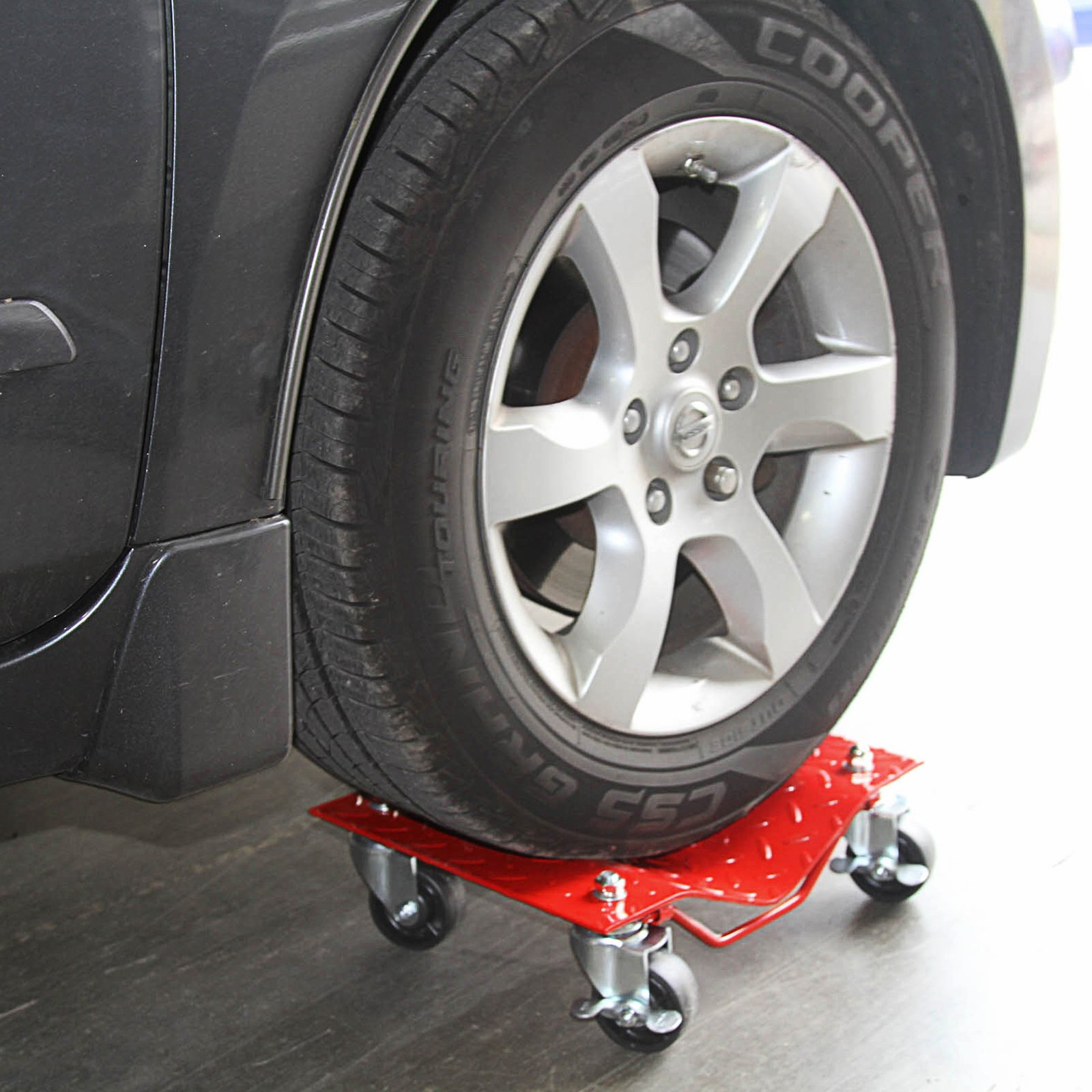 4 - Red 12'' Tire Premium Skates Wheel Car Dolly Ball Bearings Skate Makes Moving A Car Easy Furniture Movers by Red Hound Auto (Image #3)