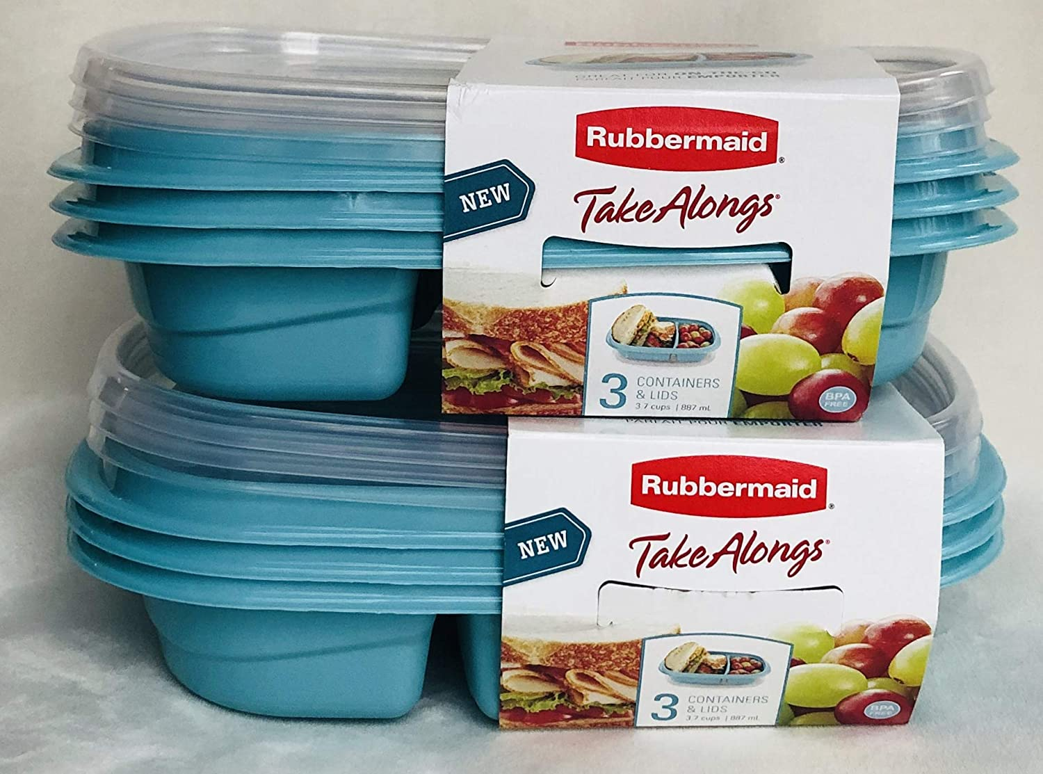 Rubbermaid TakeAlongs 12-Piece Set Divided-Base Meal Prep Food Storage Containers (6 Bases + 6 Lids) 3.7 cups TEAL
