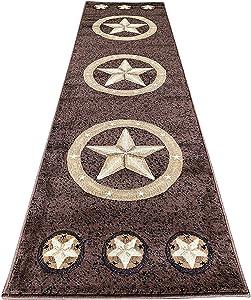 Skinz Texas Lone Star Runner Area Rug Chocolate Brown Black Beige Design 78 (2 Feet X 7 Feet)