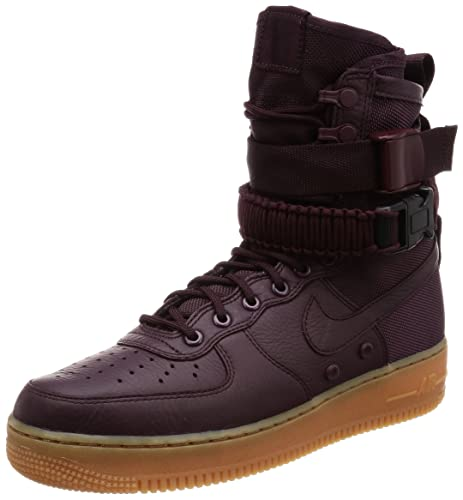 brand new d4836 a9ee9 Nike Scarpe Uomo SF Air Force 1 Hi 1.0 in Pelle e Tessuto Bordeaux 864024-