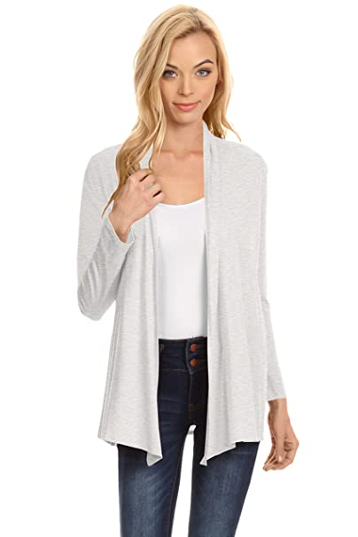 51f38532ff Womens Open Drape Cardigan Reg and Plus Size Cardigan Sweater Long Sleeves  - USA Heather Grey
