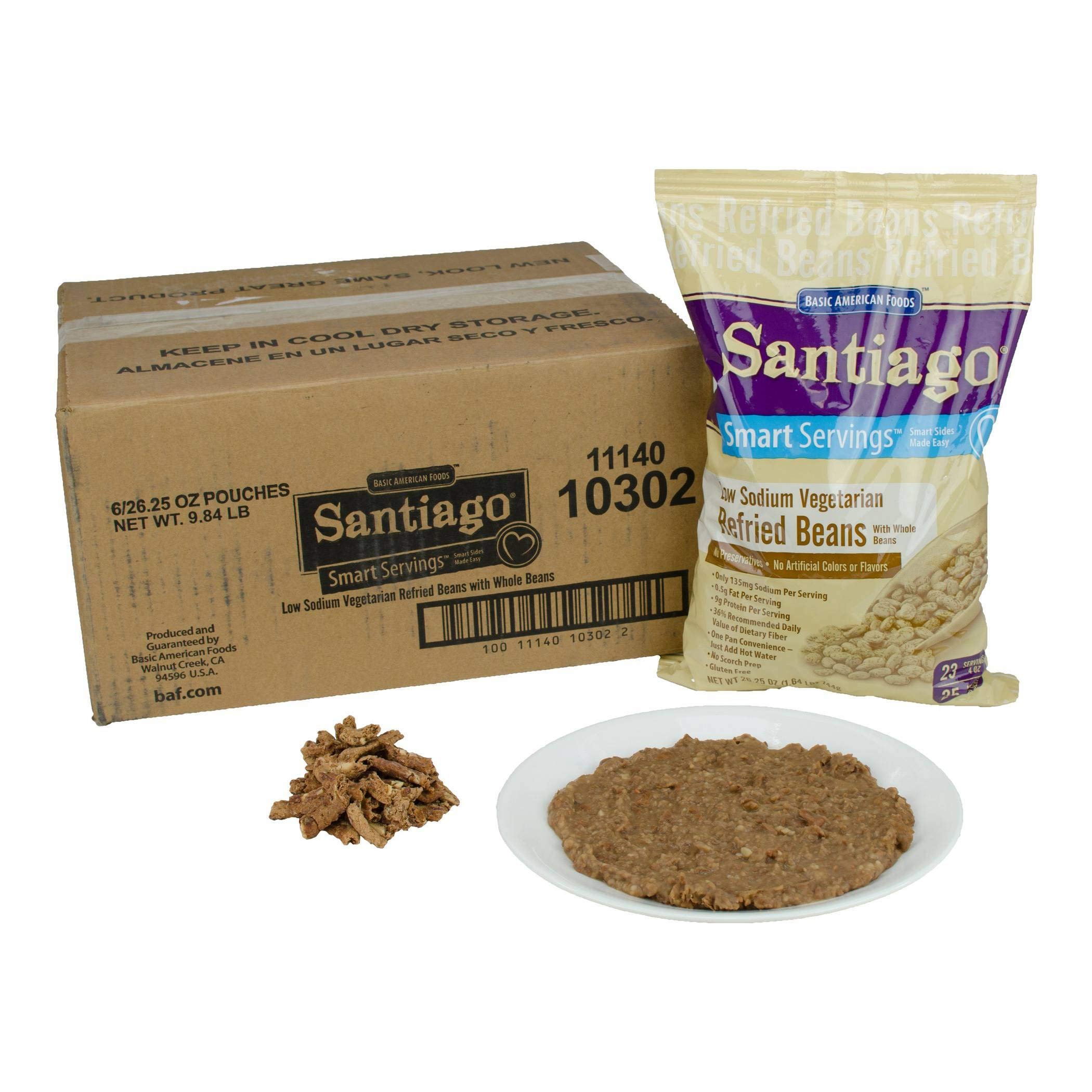 Santaigo Whole Vegetarian Refried Beans - 26.25 oz. pouch, 6 pouches per case by Basic American Foods