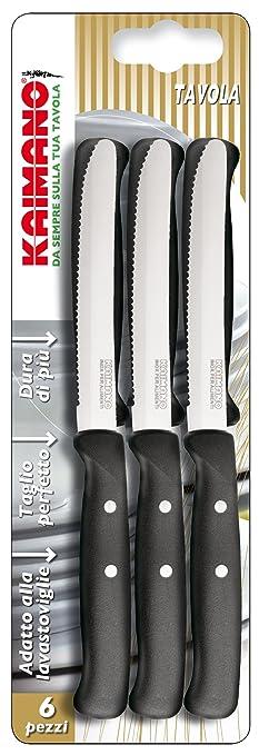 9 opinioni per Kaimano KPM031106N Premium 6 Coltelli da Tavola con Lama Dentata, Nero