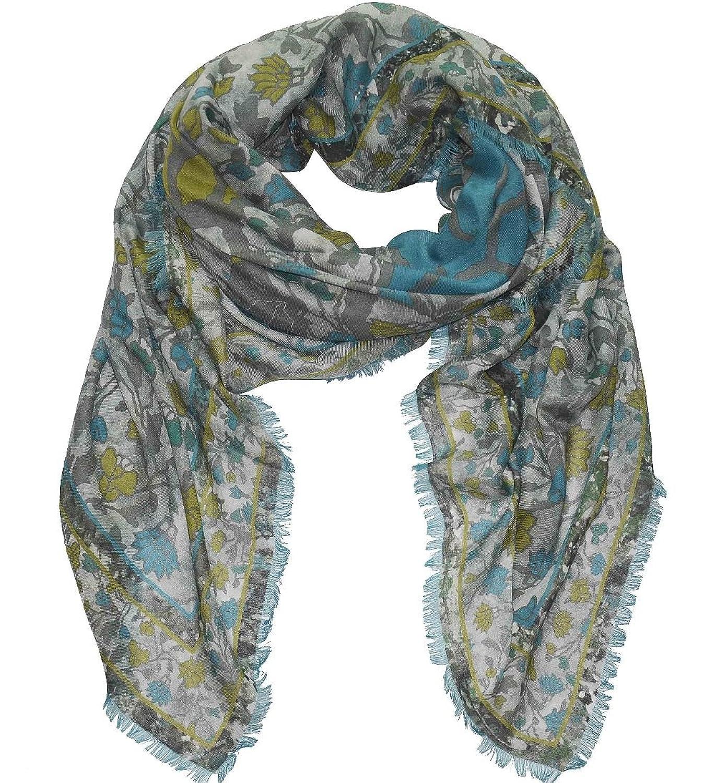 RIANI großes Tuch mit Kaschmir Schal mit abstraktem Blumenprint in grau