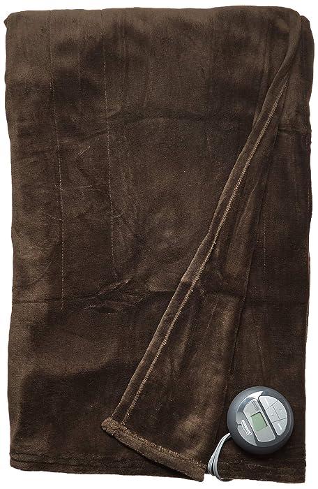 Sunbeam Heated Blanket | Microplush, 10 Heat Settings, Walnut, Twin
