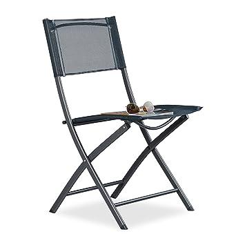 Relaxdays Klappstuhl Balkon, Metall, Kunststoff, Gartenstuhl, HxBxT: 87 x  55 x 48,5 cm, Balkonklappstuhl, anthrazit grau
