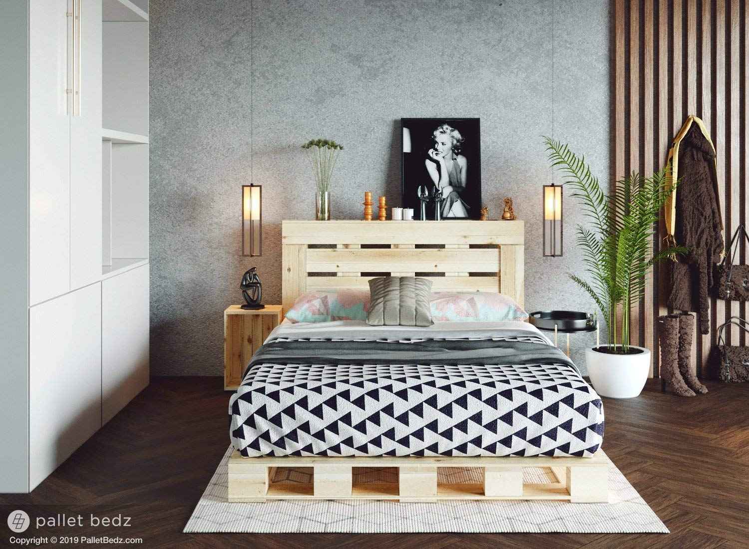 Amazon.com: Full Size Pallet Bed for The Modern and Natural ...
