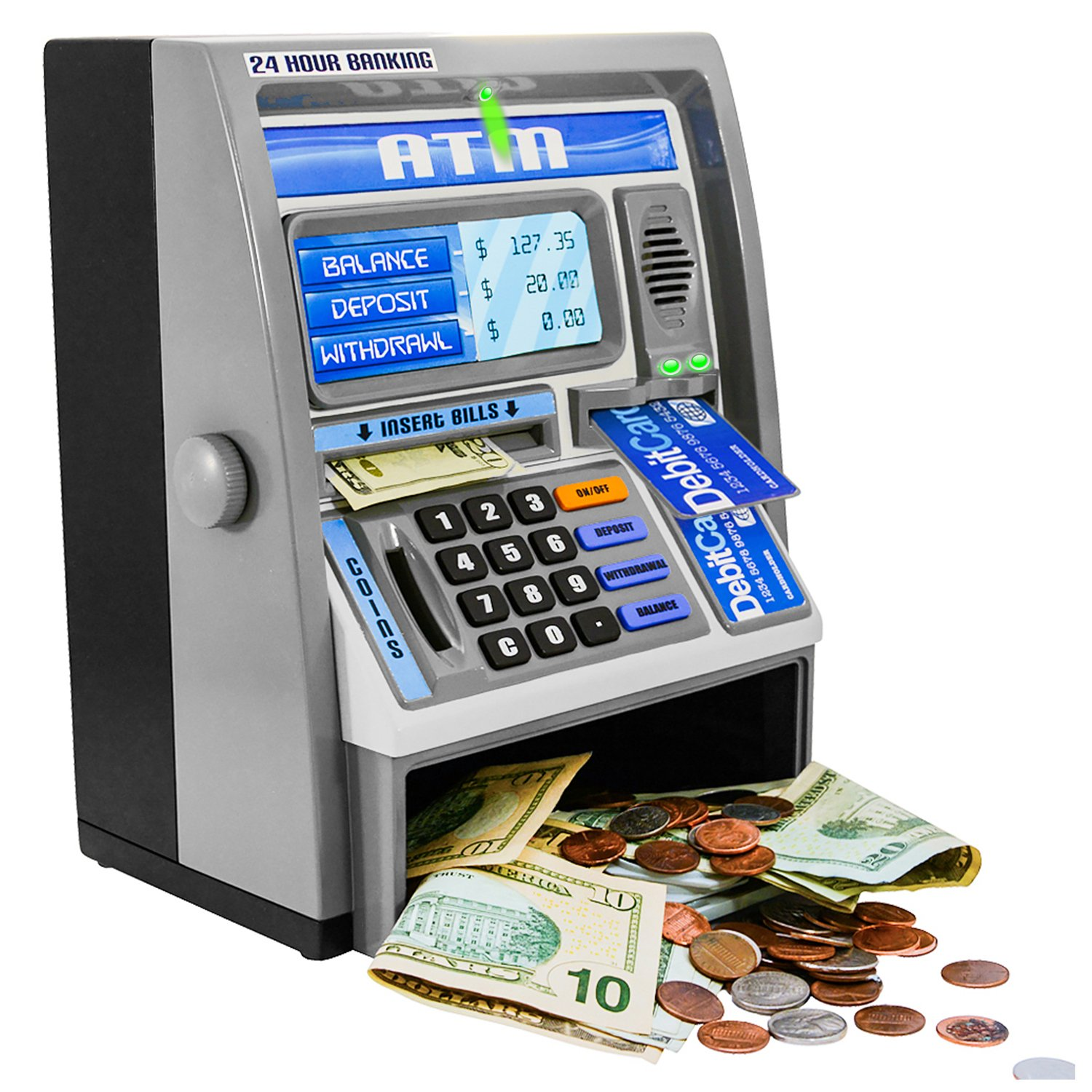 Ben Franklin Toys Kids Talking ATM Machine Savings Piggy Bank with Digital Screen, Electronic Calculator That Counts Real Money, and Safe Box for Kids, Silver by Ben Franklin Toys