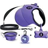 Ruff 'n Ruffus Retractable Dog Leash with Free Waste Bag Dispenser and Bags + Bonus Bowl   Heavy-Duty 16ft Retracting Pet Leash   1-Button Control  