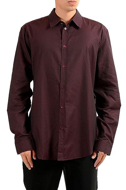 Amazon Com Versace Men S Burgundy Long Sleeve Dress Shirt Size Us