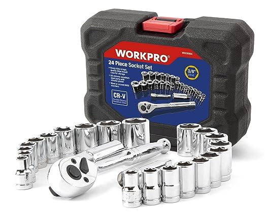 3 opinioni per WORKPRO Set di chiavi a bussola / a cricchetto ed accessori in cromo vanadio in