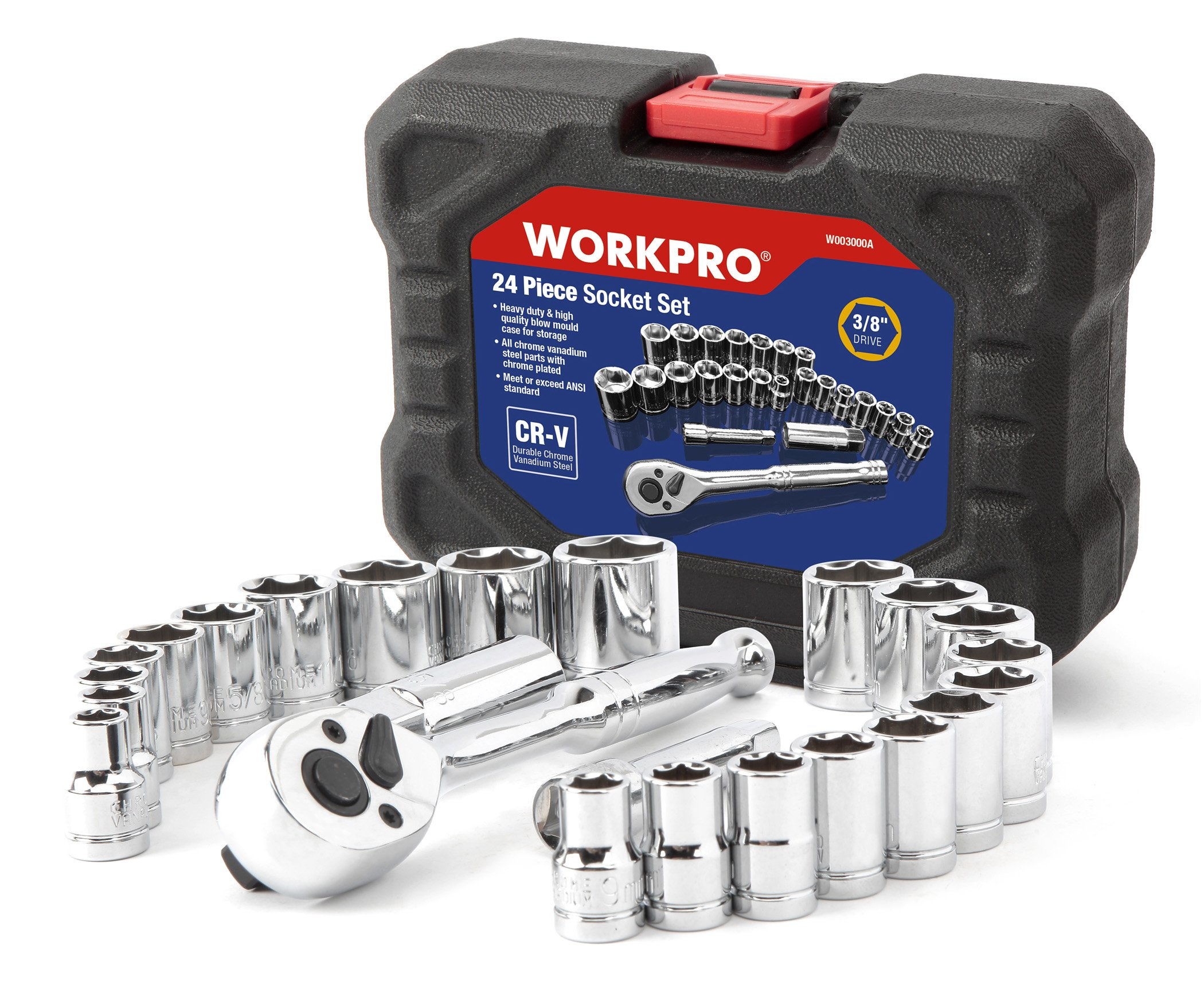 WORKPRO 24-piece Compact Drive Sockets Set 3/8'' Ratchet with Blow Molded Case